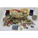 A basket of costume jewellery