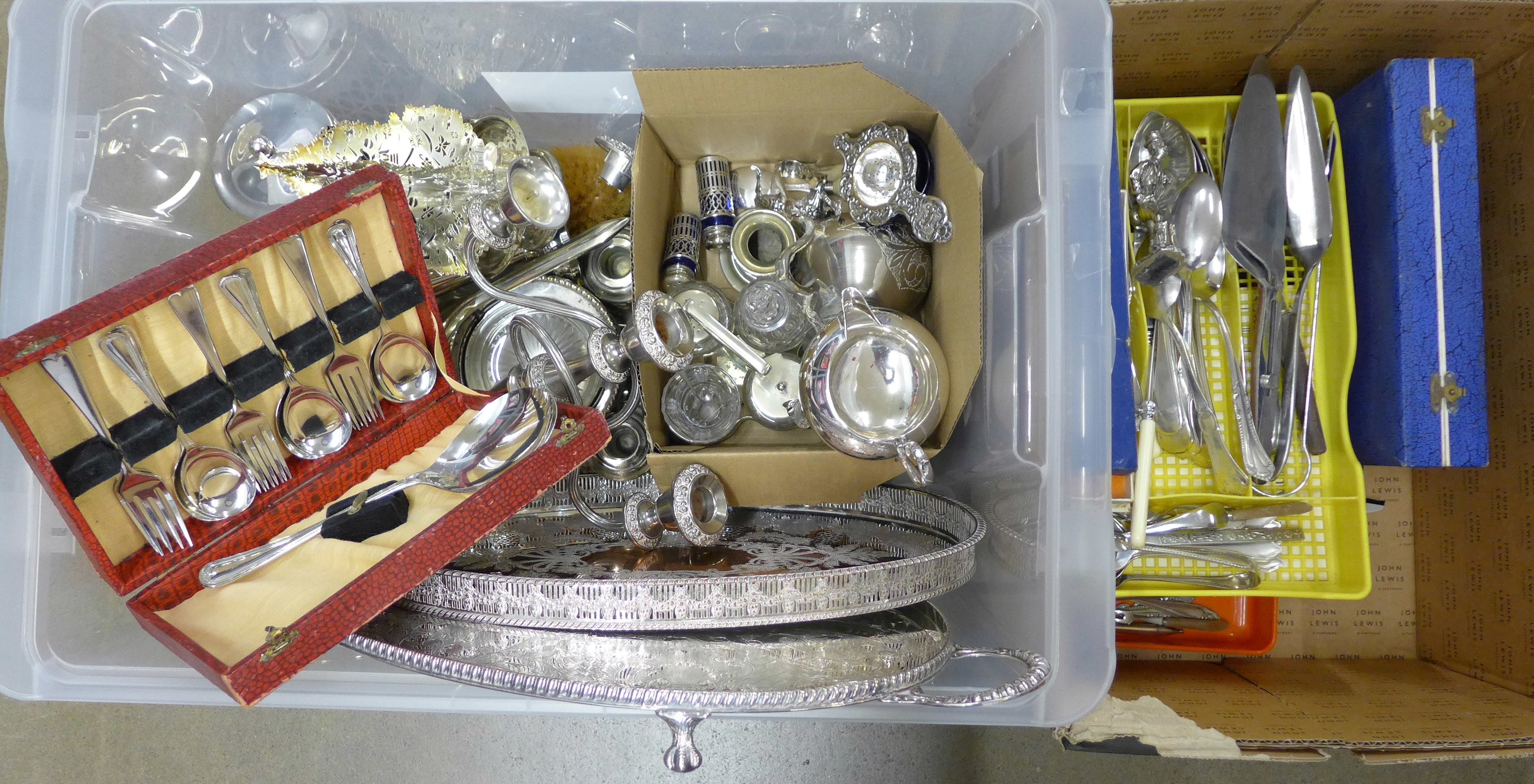 Two boxes of mixed silver plate, two trays, Christmas tree candle holder, vanity set, two chamber