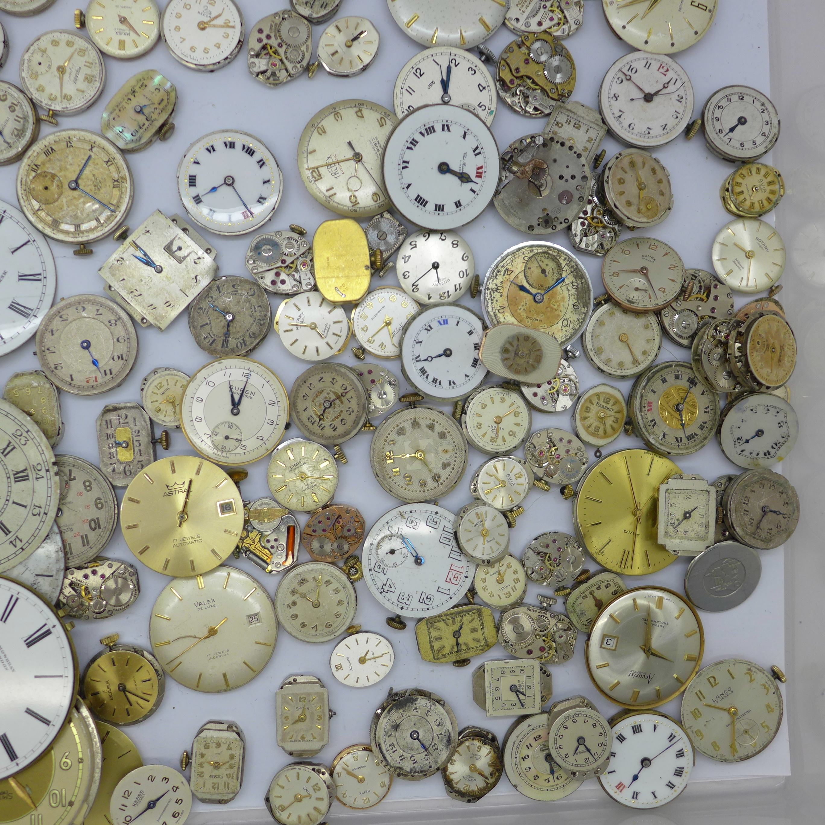 Lady's and gentleman's wristwatch movements including Tissot, Record, Waltham, Thos Russell, Rotary, - Image 3 of 3