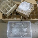 Four boxes of assorted lead crystal and cut glass; drinking glasses, vases, jugs and bowls **