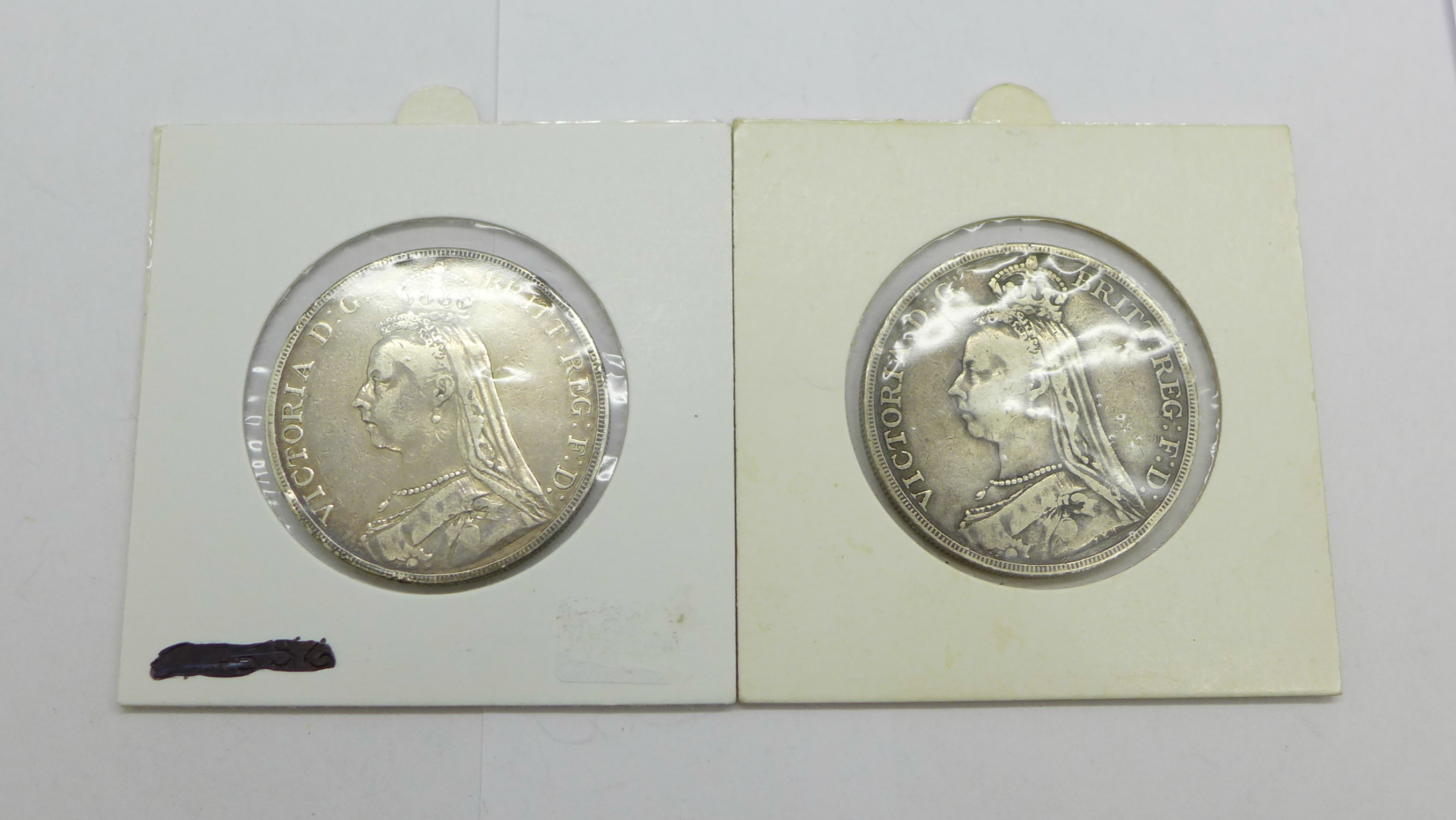 Two Victorian silver 1889 crowns - Image 2 of 2