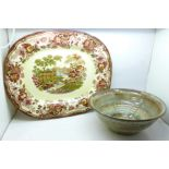 A Royal Staffordshire Clarice Cliff meat plate and a studio pottery bowl