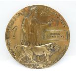 A WWI death plaque to Herbert Walter Lane