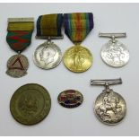 Four WWI medals, Victory Medal to 31230 Pte A E Grubb Hamps R, others to 7291 GB Ellis 15 Lond R,