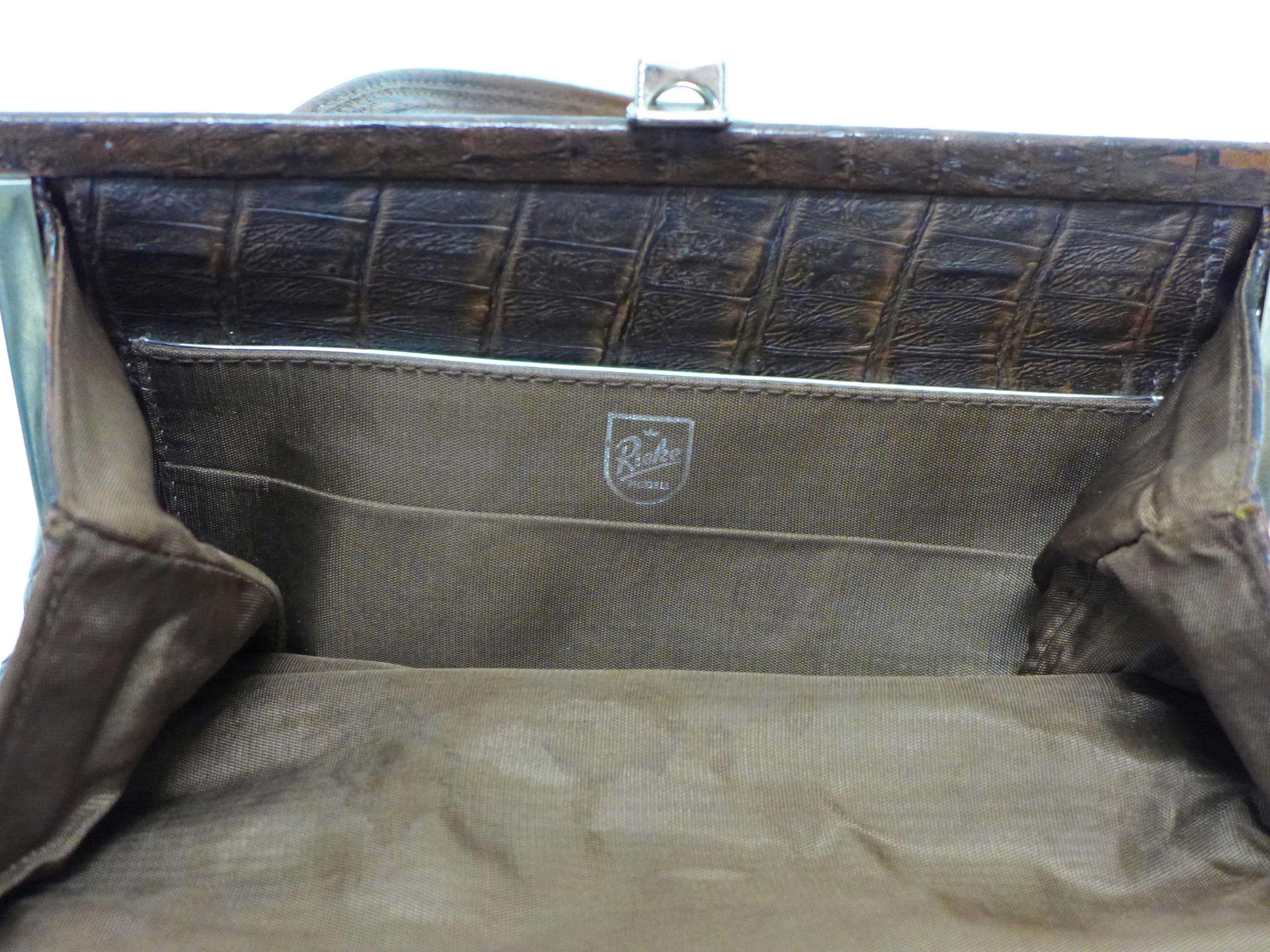 A Rieke vintage faux crocodile skin handbag - Image 3 of 4