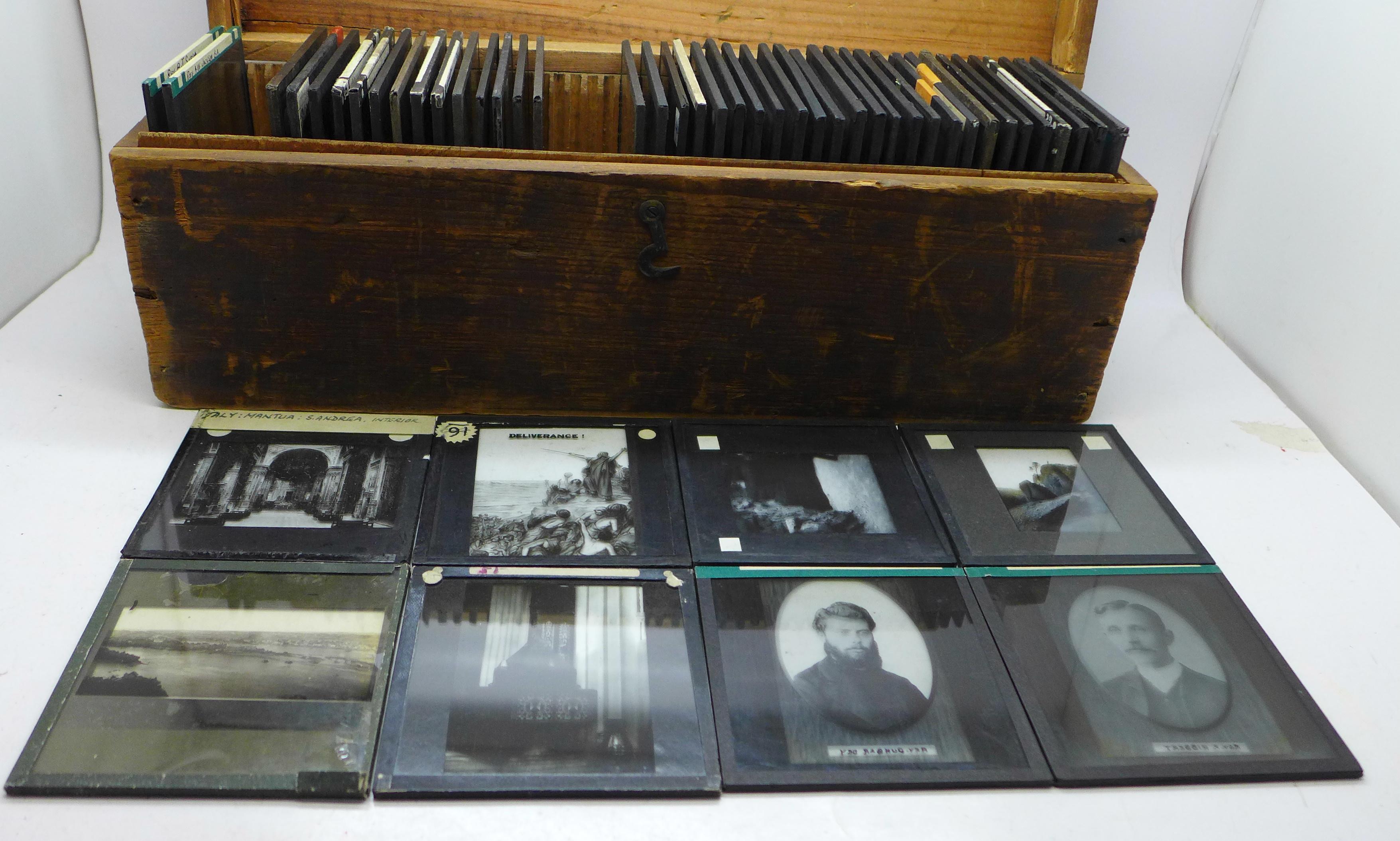 Fifty magic lantern slides, boxed