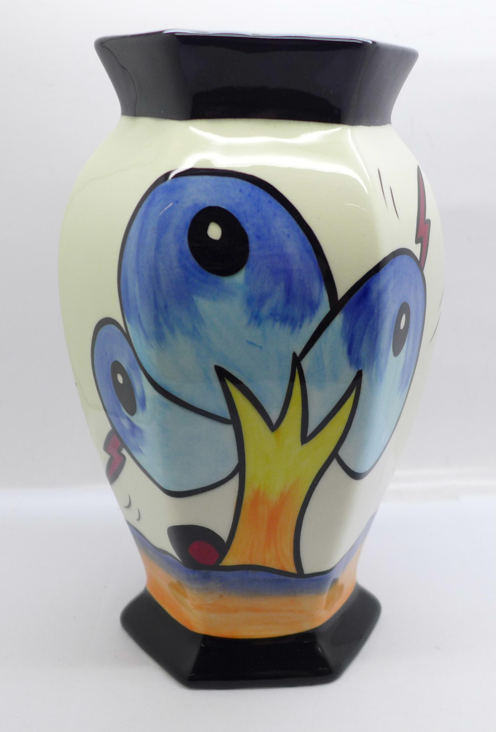 Lorna Bailey Pottery, hexagonal vase in the 'Bursley Way' design, 'Lorna Bailey' signature on the - Image 3 of 5