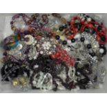 Glass bead jewellery, carved bangle, brooches and other jewellery