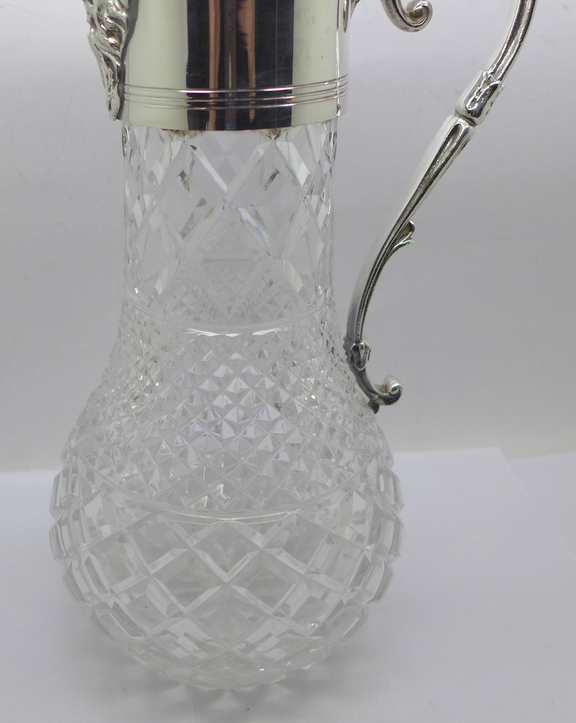 A white metal mounted glass claret jug, marked 999 on the handle and lid - Image 6 of 6