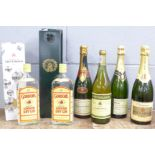 A collection of champagnes including Taittinger, Laurent-Perrier, two bottles of wine including 1998
