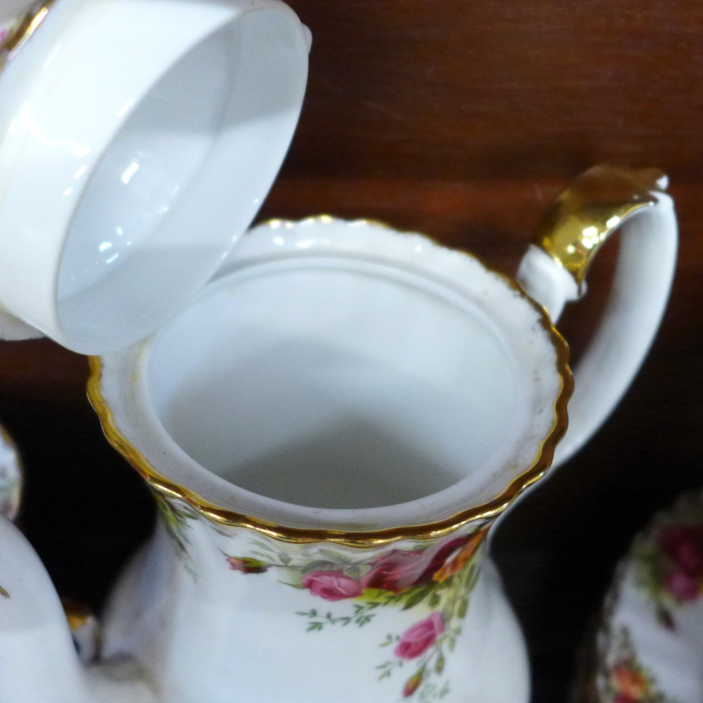 Royal Albert Old Country Roses china:- coffee pot, thirteen cups, fourteen saucers, eighteen side - Image 6 of 7