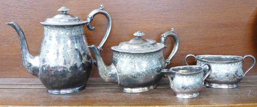 A silver plated four piece tea service