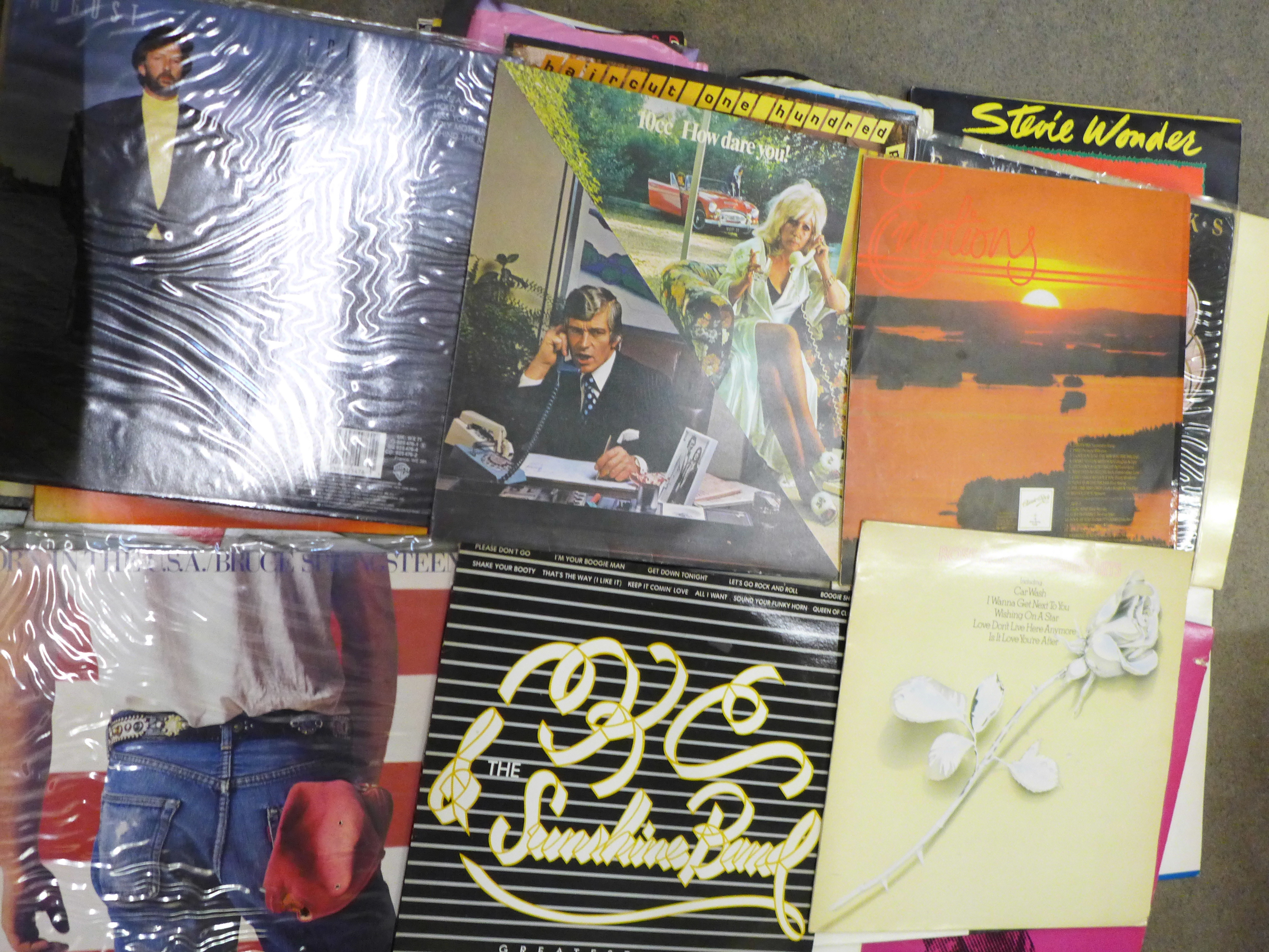"""A collection of LP records and 7"""" 45rpm singles including Bruce Springsteen, 10cc, Gladys Knight, - Image 4 of 4"""