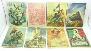 Eight WWII Italian propaganda postcards