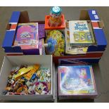 A collection of animal toys and Littlest Pet Shop sets, boxed, a Jack in a box, a spinning top, a