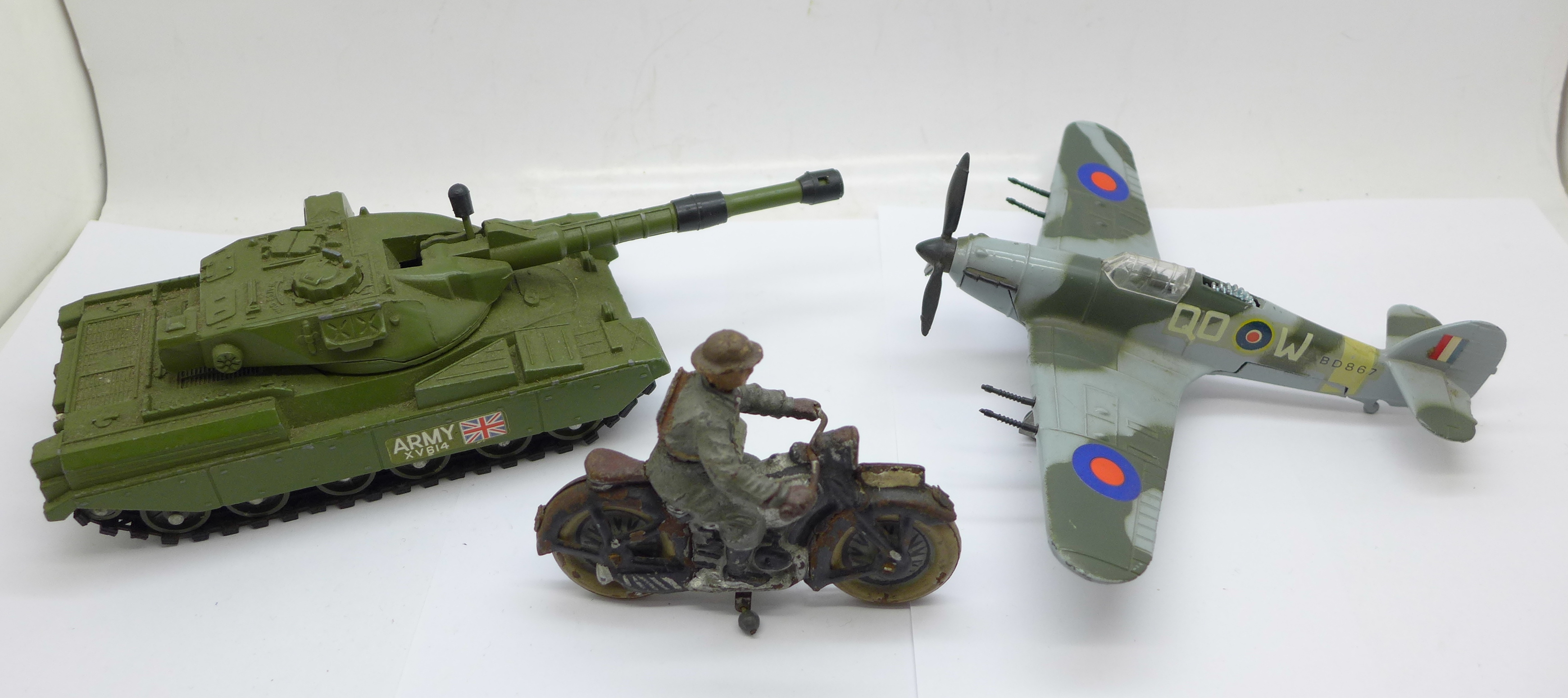 Two Dinky Toys; Chieftan Tank and Hawker Hurricane MKII C and an Elastolin and tinplate motorcycle