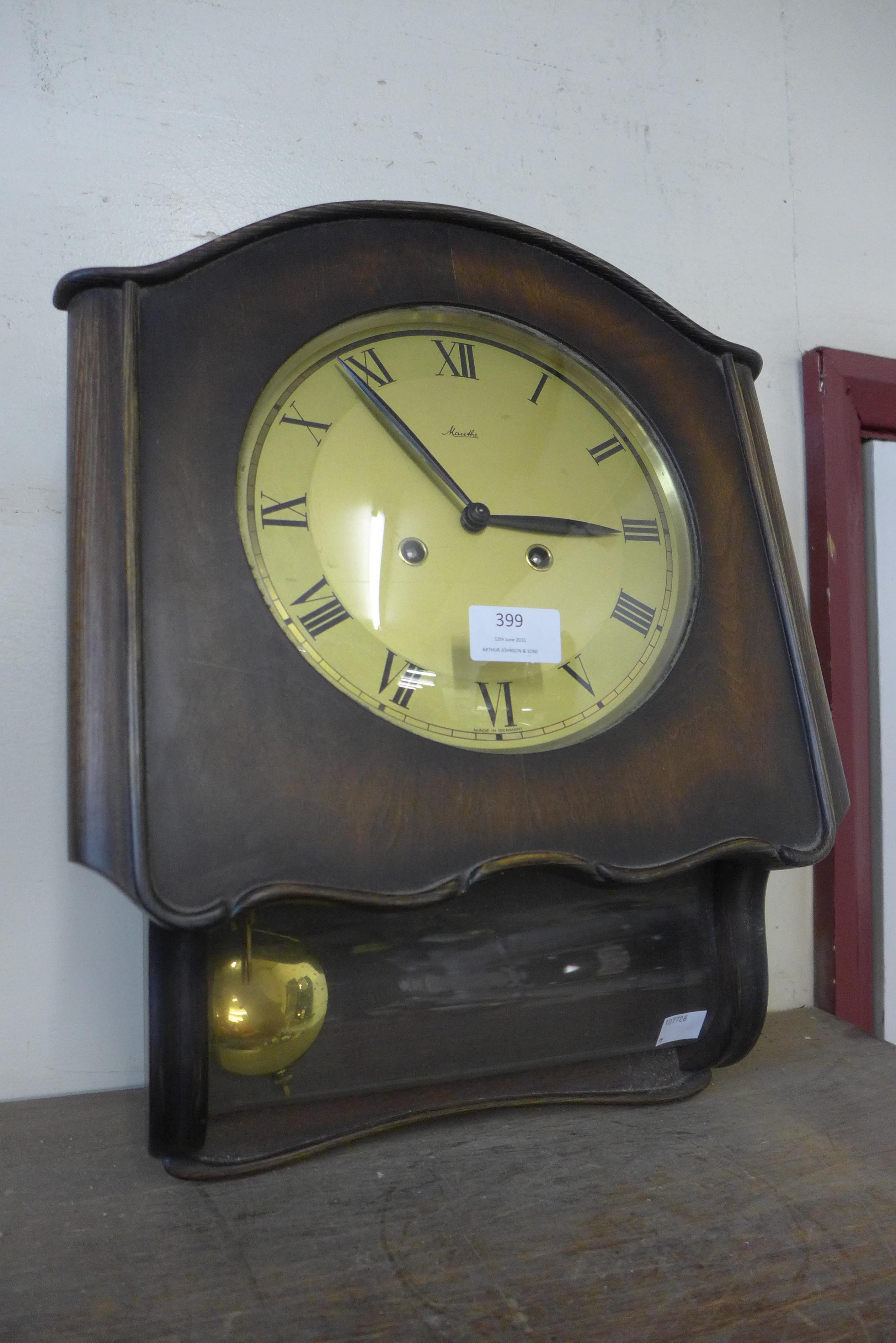 A German Mauthe beech wall clock