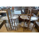 A pair of Eastern hardwood folding cake stands