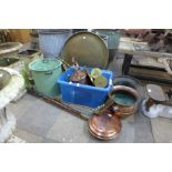Assorted metalware including Arts and Crafts copper bowls and trench art