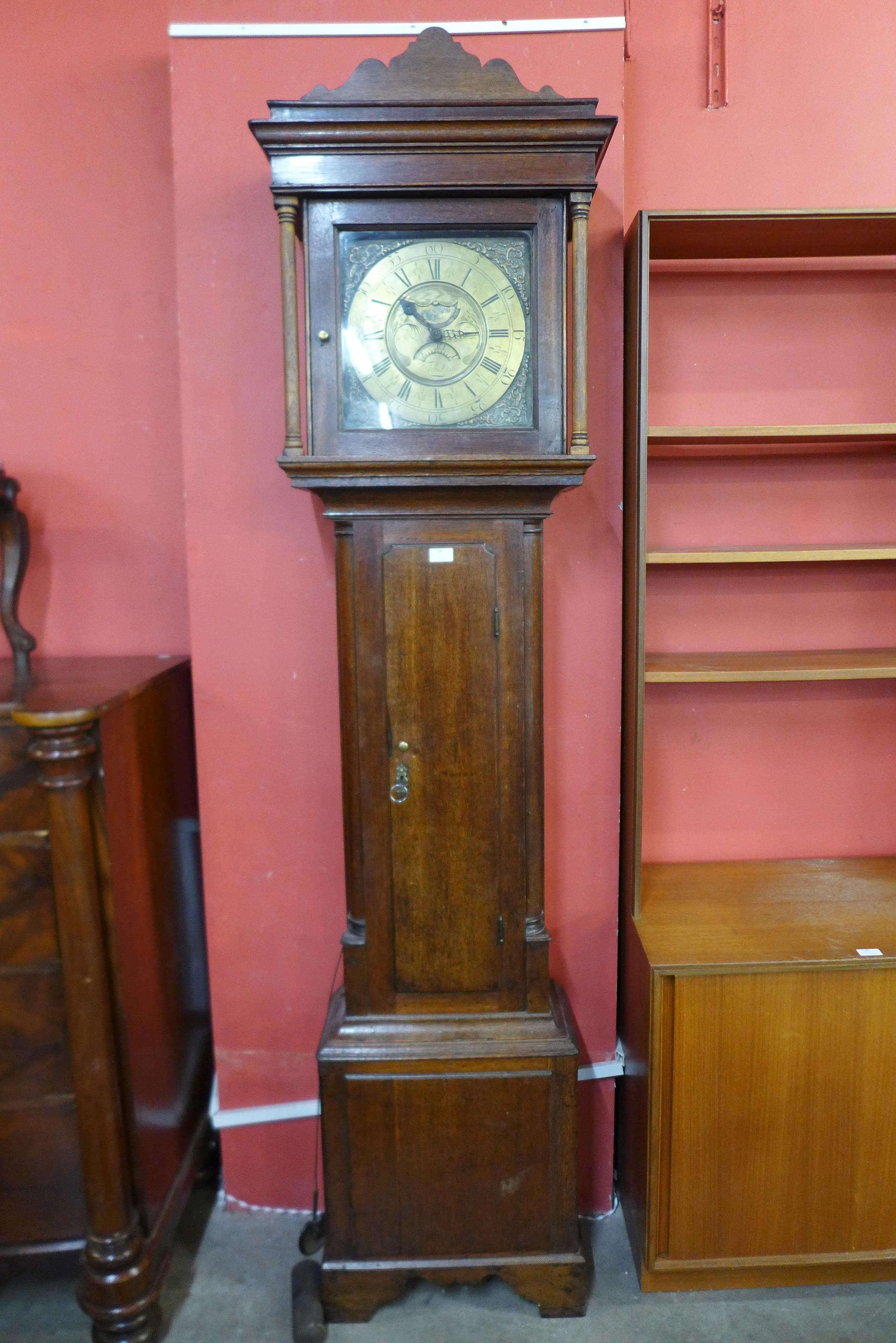 A George III oak 30-hour longcase clock, the square brass dial signed Thomas Lister