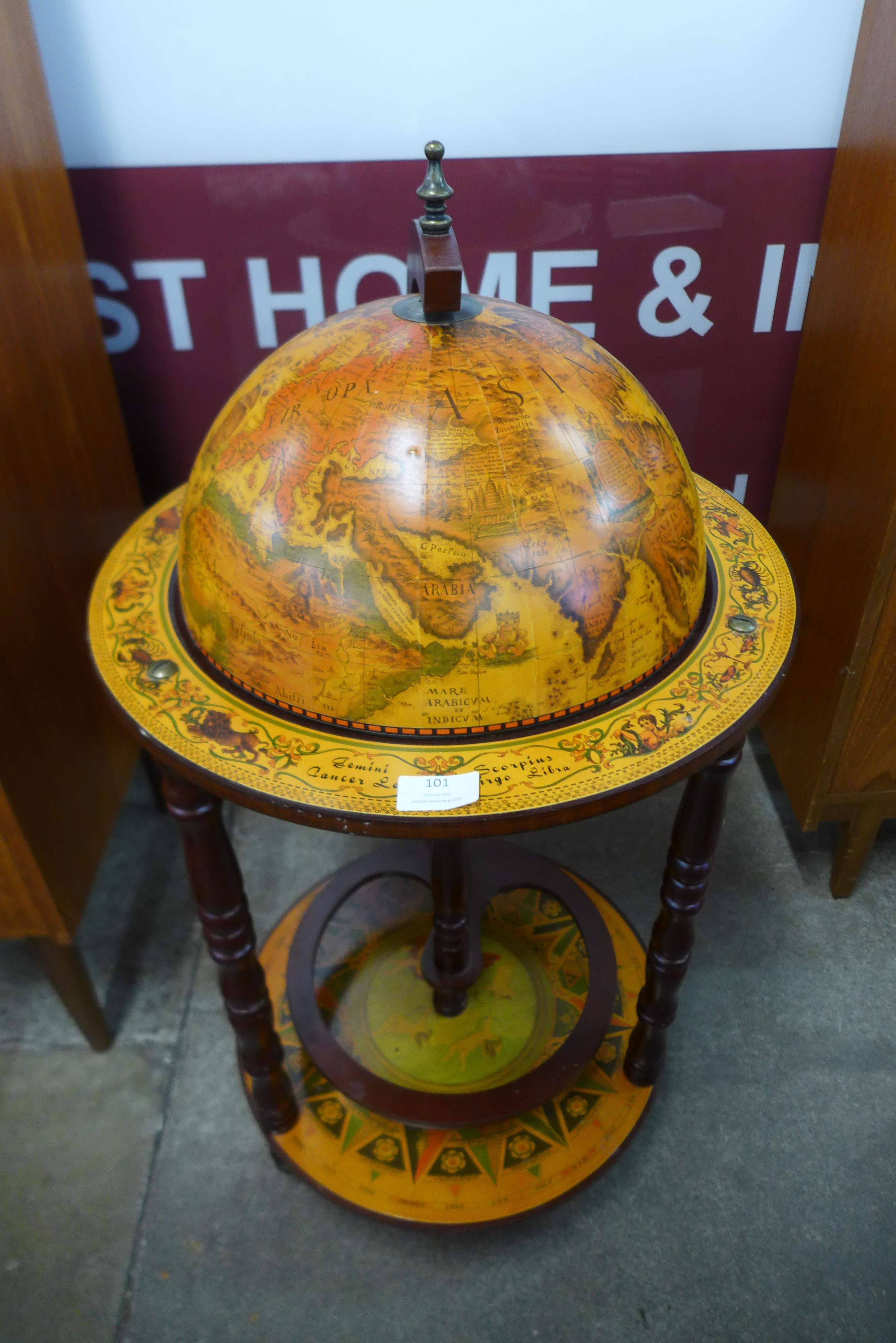 A terrestrial globe cocktail cabinet