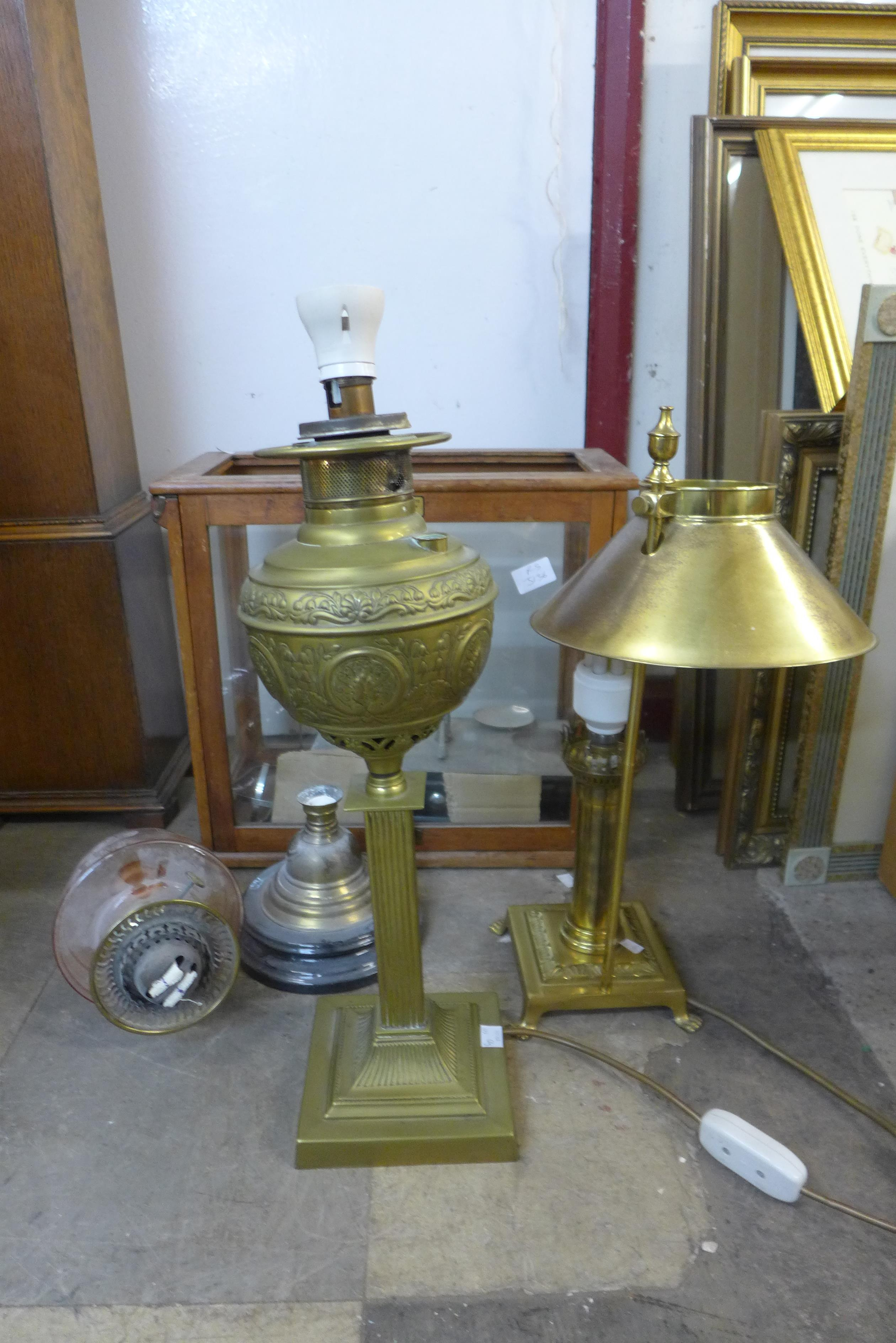 A set of chemists balance scales and assorted oil lamp parts etc.