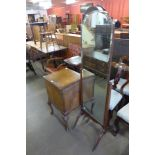 A mahogany cheval mirror and a music cabinet a/f