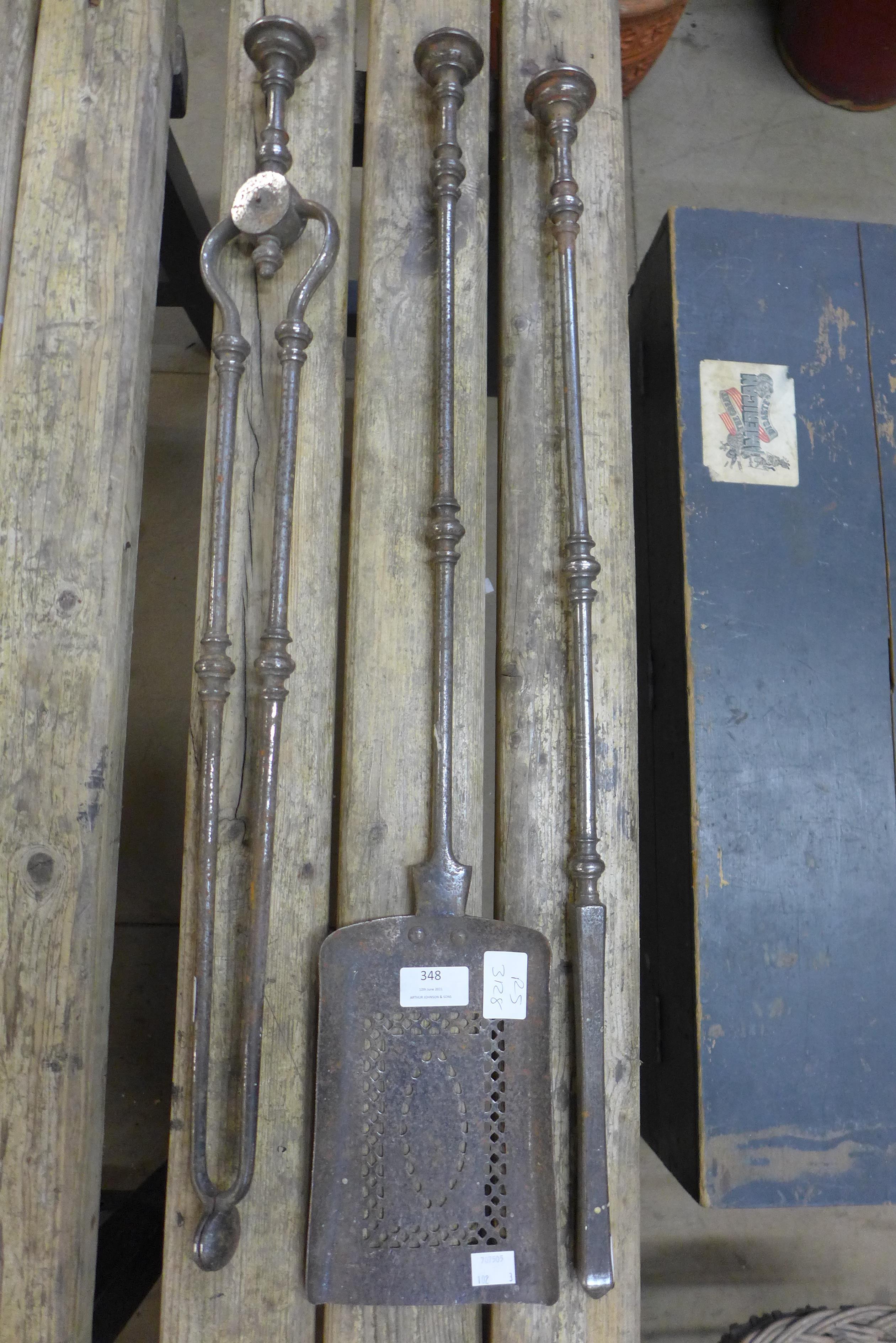 A George III burnished steel companion set