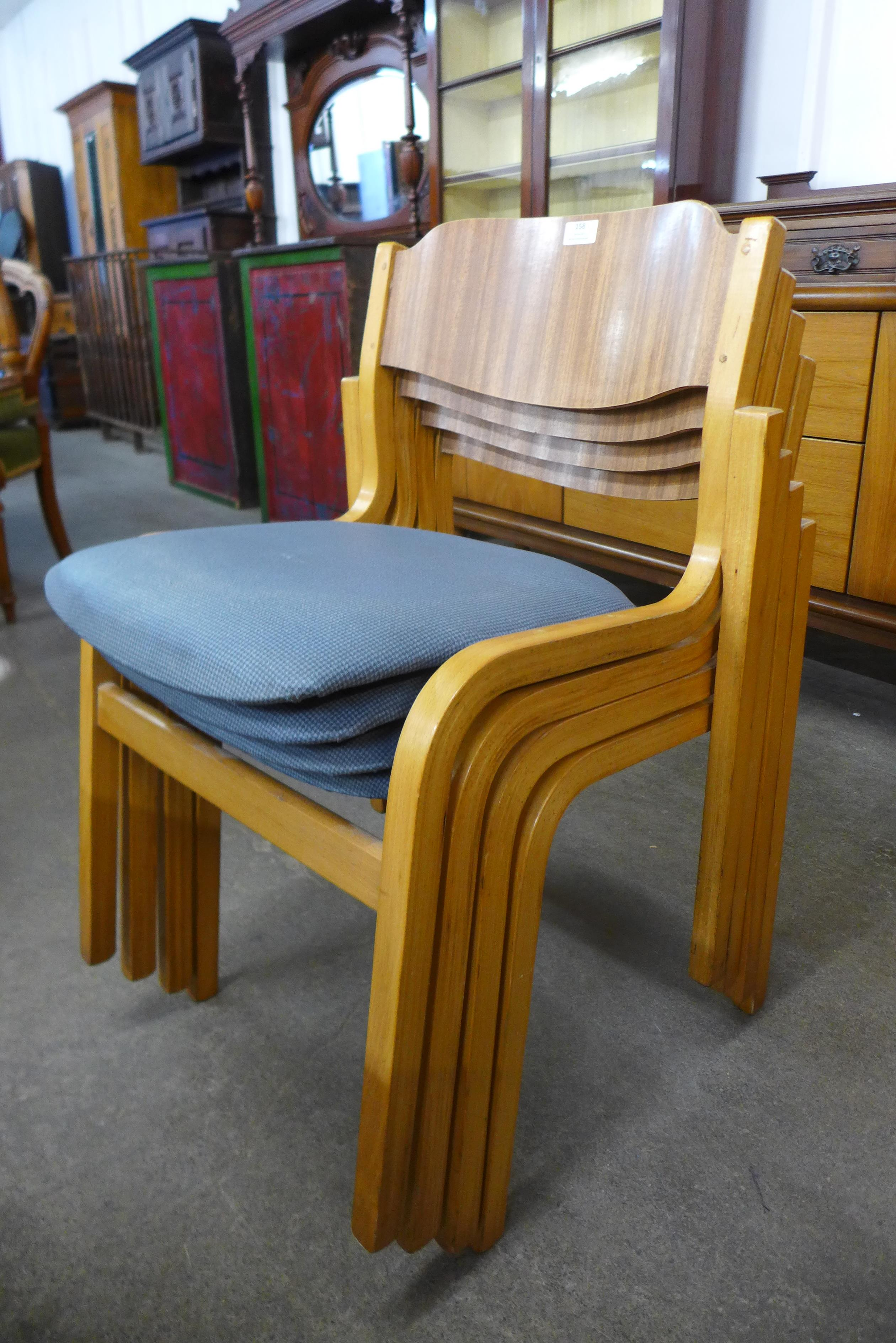 A set of four Tecta beech stacking chairs and a drop leaf table - Image 6 of 6