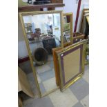 Two gilt framed mirrors and a picture frame