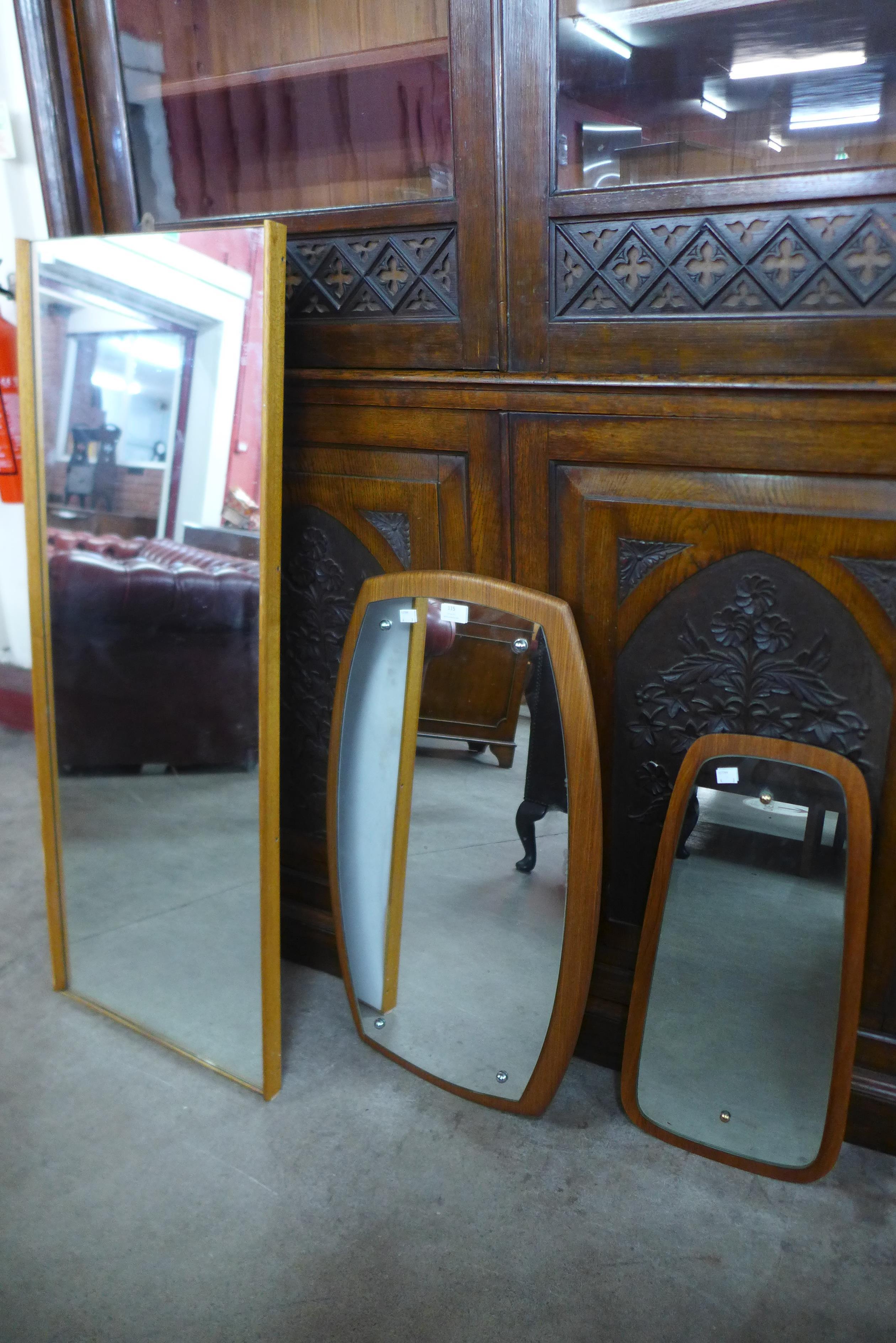 Three teak framed mirrors
