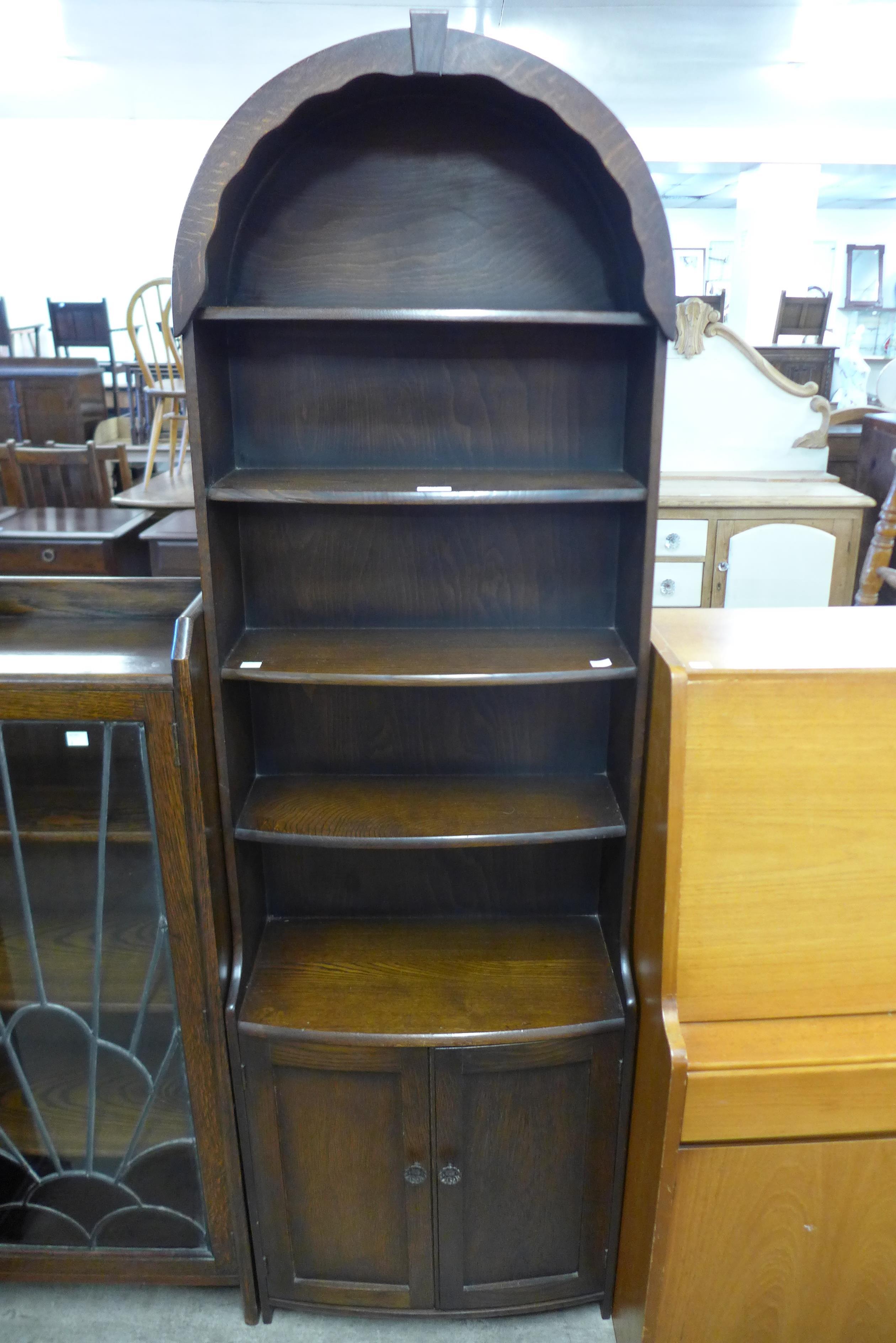 An oak open bookcase