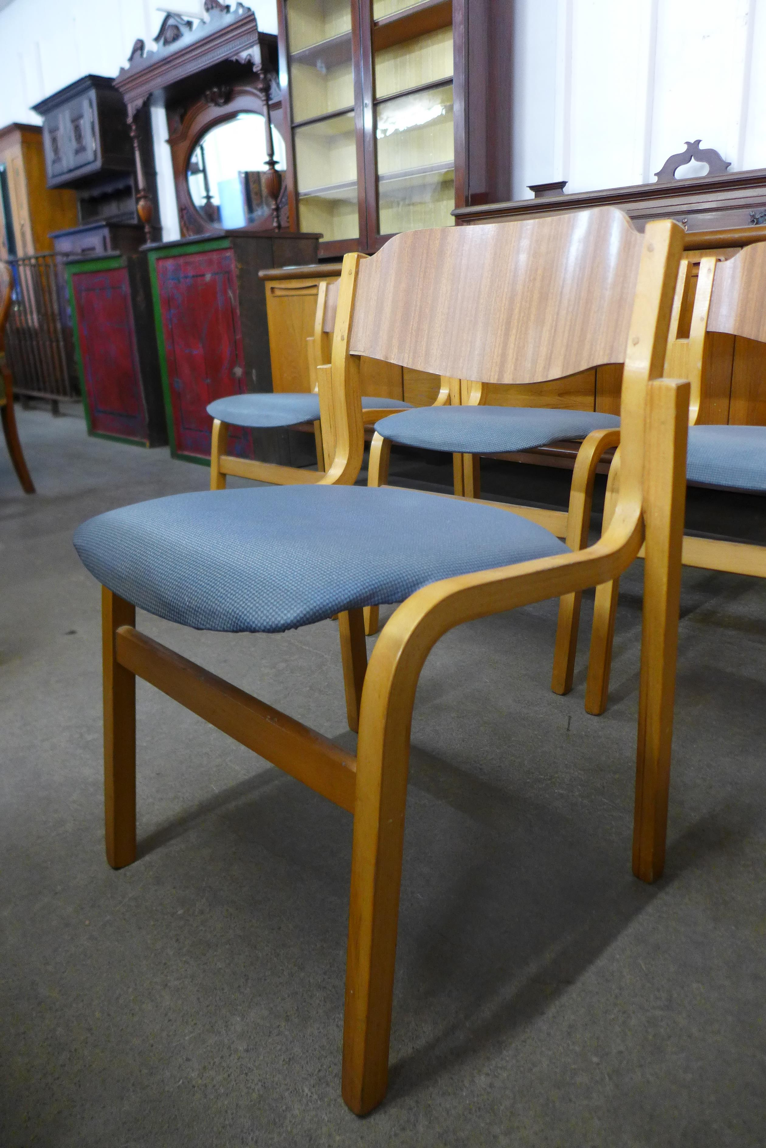 A set of four Tecta beech stacking chairs and a drop leaf table - Image 4 of 6