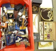 A collection of fashion jewellery and wristwatches, two Rotary, Sekonda, etc.