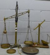 Class B brass and cast iron balance scales with spare arm and pan and another set **PLEASE NOTE THIS