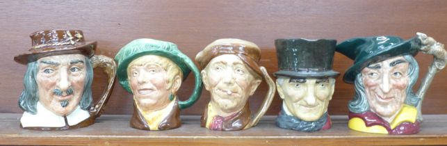 Five large Royal Doulton character jugs, Pied Piper, 'arriet, Compleat Angler, John Peel and 'arry