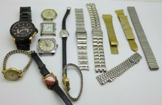 A collection of watches including Citron, Roamer, Timex, Ingersoll and watch bracelets