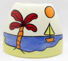A Lorna Bailey purse vase in the 'Tropicana? Design, 'Lorna Bailey' signature on the base, 13.5cm