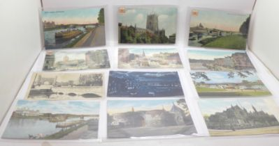 A collection of thirty-eight Nottingham postcards, mid 20th Century
