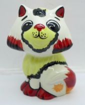 A Lorna Bailey Honey the Cat, signed on the base, 13cm