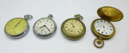 Three pocket watches, Medana, Smiths Empire and The Waterbury Watch Co., and a Smiths stop-watch,