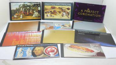 Stamps; GB prestige booklets, fourteen including £1 Wedgwood, total face value exceeds £150