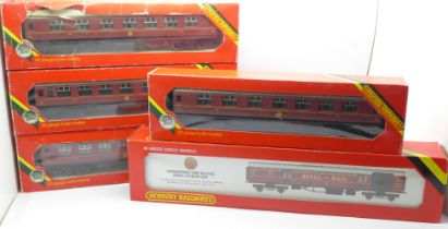Four Hornby OO gauge maroon carriages and an Operating LMS Royal Mail Coach set, boxed