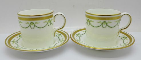Two Royal Crown Derby Titanic commemorative coffee cans and saucers, second quality