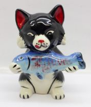 A Lorna Bailey Pikey the Cat, signed on the base, 13cm