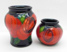 A pair of Moorcroft vases, painted in the trial 'Red Rose' design by Emma Bossons, shape 146/3, (