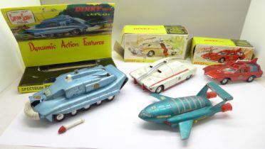 A Dinky Toys Captain Scarlet 103 Spectrum Control Car, boxed, a Dinky Toys Thunderbird 2, a Dinky