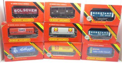 Nine Hornby OO gauge wagons, boxed