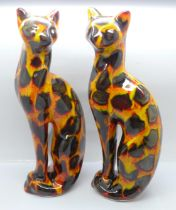 Anita Harris - two hand painted cat figurines in the vibrant ?Hot Coals? design, signed in gold on