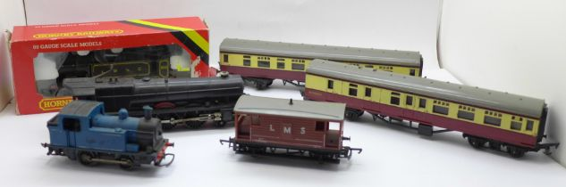 A Hornby Railways OO gauge R353 LBSC 0-6-0T locomotive, boxed, two carriages, wagon and two